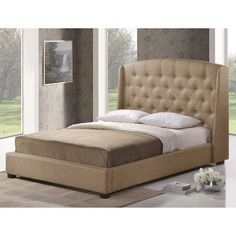 Wholesale Interiors Baxton Studio Upholstered Platform Bed Size: Queen, Upholstery: Light Beige