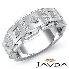 9.5mm Men Channel Bezel Set Princess Diamond Half Wedding Band Platinum Ring 1Ct #Javda #WithDiamonds