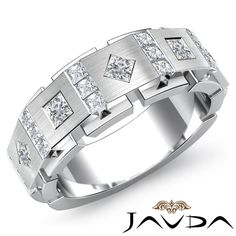 9.5mm Men Channel Bezel Set Princess Diamond Half Wedding Band Platinum Ring 1Ct #Javda #WithDiamonds