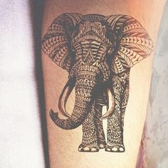 Elephant tattoo...love the style Thank you @Susan Caron Young