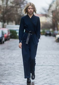 b220db52b1 Street styler Ebba Zingmark in a belted wrap structured jumpsuit