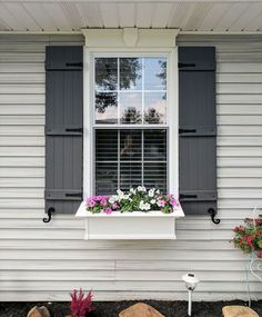 Home Design Exterior Window Boxes 41 Ideas For 2019 Window Shutters Exterior, Outdoor Shutters, Farmhouse Shutters, Wood Shutters, Black Shutters, Outside Window Shutters, Black Doors, Homes With Shutters, Cottage Shutters