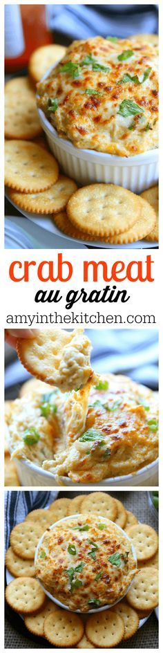 You'll love this recipe for Crab Meat au Gratin. White lump crab meat with melted cheese and seasonings, perfect for holiday parties!- Amy in the Kitchen Meat Appetizers Appetizers Appetizers keto Appetizers parties Appetizers recipes Finger Food Appetizers, Yummy Appetizers, Appetizers For Party, Appetizer Recipes, Seafood Appetizers, Appetizers Superbowl, Crab Appetizer, Party Dips, Party Snacks