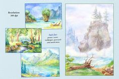 8 watercolor lanscapes by WatercolorDreams on @creativemarket