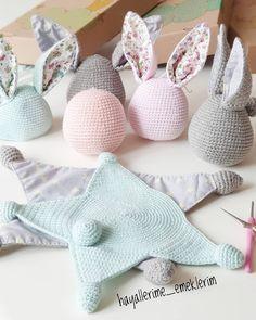 Best 12 Easy Crochet Patterns Amigurumi by AVokhminaPatterns on Etsy – SkillOfKing. Crochet Lovey, Crochet Rabbit, Crochet Patterns Amigurumi, Cute Crochet, Baby Blanket Crochet, Crochet Toys, Amigurumi Tutorial, Bunny Blanket, Crochet Simple