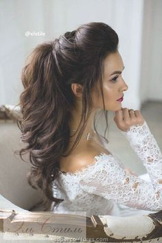 half up wedding hairstyles for long hair - Hair Models Long Bridal Hair, Half Up Wedding Hair, Wedding Hairstyles Half Up Half Down, Wedding Hairstyles For Long Hair, Wedding Hair And Makeup, Trendy Hairstyles, Prom Hairstyles, Wedding Nails, Fashion Hairstyles