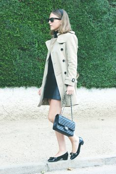 Burberry trench, Petit Bateau turtleneck, Topshop skirt, Ferragamo shoes, Chanel bag