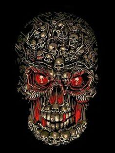 0de8b30b20 A skull made of all little skulls Skeleton Art
