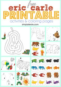 I love Eric Carke! // Good Mornings with Eric Carle and Gymboree, reading books, wearing cozy pajamas, and working on FREE Eric Carle printable activities & coloring pages! Preschool Literacy, Literacy Activities, Educational Activities, Kindergarten, Eric Carle, Craft Activities For Kids, Toddler Activities, Craft Ideas, Today Is Monday