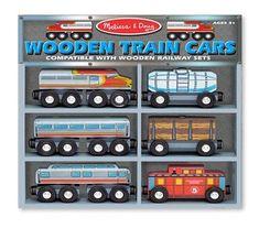 Melissa & Doug - Wooden Train Cars Set