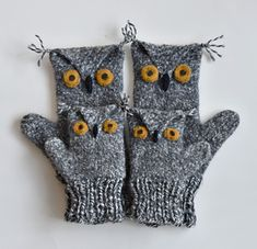 Ravelry: Owl Mittens pattern by Cindy Pilon Crochet Mitts, Knitted Mittens Pattern, Loom Knitting Patterns, Knit Mittens, Hat Patterns, Crochet Granny, Stitch Patterns, Knitting For Kids, Baby Knitting