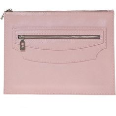 Joanna Maxham Leather Petal Pink Edit Clutch ($300) ❤ liked on Polyvore featuring bags, handbags, clutches, pink, pink leather purse, leather clutches, genuine leather handbags, wristlet handbags and pink wristlet
