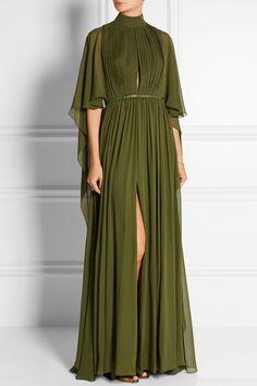 Elie Saab|Cape-effect silk-chiffon gown|NET-A-PORTER.COM