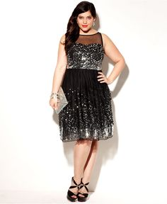 Ruby Rox Plus Size Dress, Sleeveless Sequin Illusion - Plus Size Dresses - Plus Sizes - Macy's