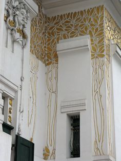 Detail of surface decoration by the main entrance - Vienna Secession Building,  built 1896.