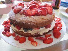 strawberries and cake...yum