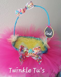 You're little one will LOVE this Tutu Easter Basket! Decorated in their favorite characters and personalized with name. Basket comes with Easter grass only. Easter basket is a large size 11' x 9'. *Pl
