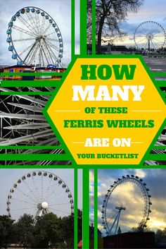 Ferris Wheels from around the world: How many of these Ferris Wheels are on your bucket list? Bucket List Destinations, Amazing Destinations, Travel Destinations, Travel Info, Travel Guides, Travel Tips, Travel Stuff, Ferris Wheels, Best Places To Travel
