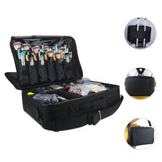 bd30979d1ef4 Travelmall Professional Makeup Train Case Cosmetic Organizer Make Up Artist  Box 3 layer Large Size with Adjustable Shoulder for Makeup Brush set Hair  style ...