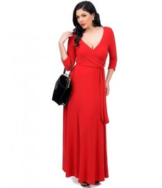Adorable level: Expert. Presenting an unconfined maxi dress in a retro radiant red. Flattering three-quarter sleeves com...Price - $62.00-OTIrZxsT