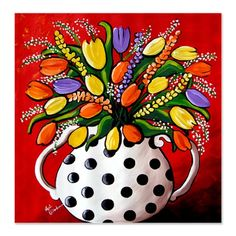 tulips polka dots flowers art shower curtain