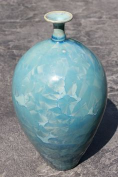 Crystalline Pottery by Tracey Renner - light Blue Bottle - Sold (Pottery, Porcelain, High Fire)