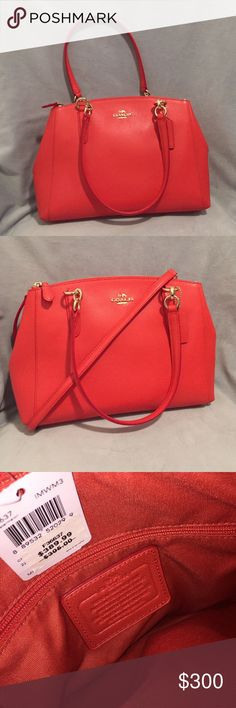 Coach Crossgrain Leather Christie Carryall Watermelon satchel (a cross between red and orange in color). Measurements 12.5 x 8.5 x 4.25in. New with tags. Smoke free home. Purchased for $389.99, Asking $300. Make me an offer :) Coach Bags Satchels