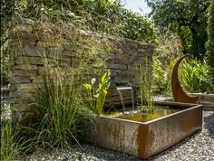 Fountain Basel - All About Modern Water Feature, Small Water Features, Water Features In The Garden, Garden Features, Outdoor Landscaping, Outdoor Gardens, Small Water Gardens, Rustic Patio, Garden Paving