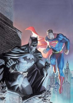 "dangerouslycoolcomics: "" Batman and Superman by Jim Lee and Alex Ross // DC Comics """
