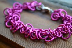 New to AthenasArmoury on Etsy: Pink Shaggy Loops Chain Maille Bracelet to Benefit Susan G. Komen - Pink Warrior Collection (22.00 USD)