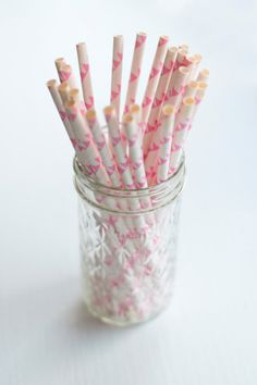 Pink Party Bunting Straws