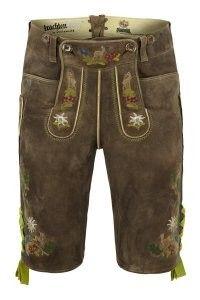 Almbock Trachten Leather Trousers Mens Wild BockExclusive Short Dress Pants Brown