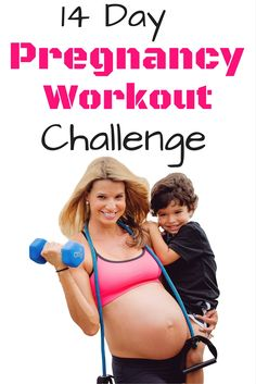Pregnancy Workout Challenge- 14 Day Jumpstart Im totally doing this challenge I need to not gain a lot of weight this pregnancy. This is amazing, and there are videos and pictures of all the workouts and they are short only 15-20 minutes each. Cardio and all.  http://michellemariefit.com/pregnancy-workout-challenge-14-day-jumpstart/