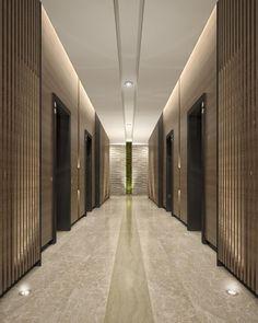 Mimar Interiors Lift lobby lighting. Wall graze. corridor: