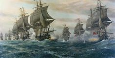 Second Battle of the Virginia Capes [Battle of the Chesapeake], painting by V. Zveg in 1962 (Hampton Roads Naval Museum, Norfolk, VA - US Navy)