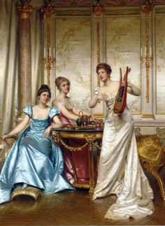 """""""The Charming Performance"""" by Charles Frédéric Joseph Soulacroix (1825-1900)."""