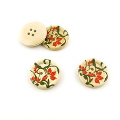 60 Pieces Sewing Clothing Buttons Sew On Wooden Wood Knopfe BB1512 Lily Flower Depression Colorful Plush Lovely Accessory Decoration Handmade Cute Scrapbook Flatback DIY *** Click image to review more details.