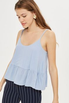 Casual camisole in pale blue.