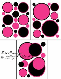 Hot Pink and Black Polka Dot wall art decals for teen girls room, baby nursery, and kids room decor #decampstudios