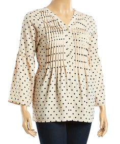 Loving this Taupe & Black Polka Dot Pleated Bell-Sleeve Top - Plus on #zulily! #zulilyfinds