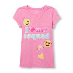 Girls Short Sleeve 'I (heart) My Squad' Emoji Graphic Tee