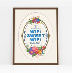 WiFi Sweet WiFi - Customisable Cross Stitch Pattern (Digital Format - PDF) by Stitchrovia on Etsy https://www.etsy.com/listing/195340473/wifi-sweet-wifi-customisable-cross