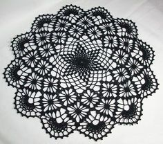 Big black crochet doily, approx: 19.5inch/49cm perfect for Halloween. Goth Emo One of a kind FREE SHIPPING