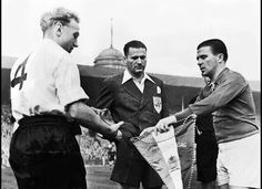 "Billy Wright with Ferenc ""Pancho"" Puskas ahead of England vs Hungary back in '53"
