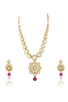 Vilandi set with ruby drop in gold plating. Item number J15-217
