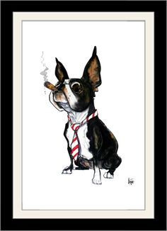 "Bossy Boston Terrier - Caricature Paintings and Illustrations by John LaFree. 12"" x 18"" Premium Poster on 110lb Matte Cover (300gsm) with optional black satin wood frame."