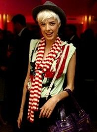 striped scarf makes the outfit pop -- model Agyness Deyn