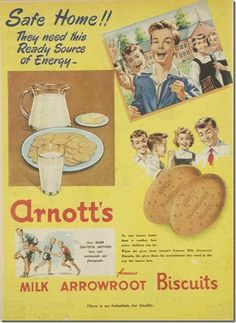 Arnott's Milk Arrowroot Biscuits Retro Ads, Vintage Advertisements, Vintage Ads, Vintage Posters, Vintage Food, Arrowroot Biscuits, Australian Vintage, Australian Icons, Retro Images