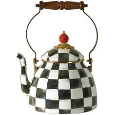MacKenzie-Childs Courtly Check Enamel Tea Kettle - Small (3 845 UAH) ❤ liked on Polyvore featuring home, kitchen & dining, cookware, black and white tea kettle, enamel coated cookware, enamel tea kettle, enamel cookware and mackenzie childs tea kettle