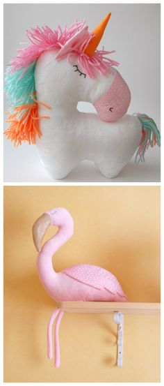 Süße Kuscheltiere für Kinder: Einhorn Kuscheltier und Flamingo, Kinderzimmer Dekoration / cute soft toys for kids and nursery decoration: cute unicorn and flamingo made by RomeoShop via DaWanda.com